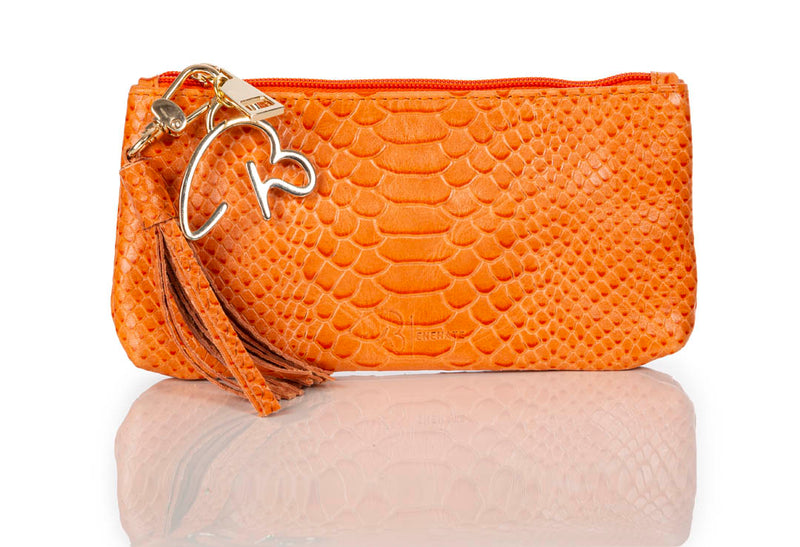 """888"" Orange Embossed Python Leather Pouch/Wallet"