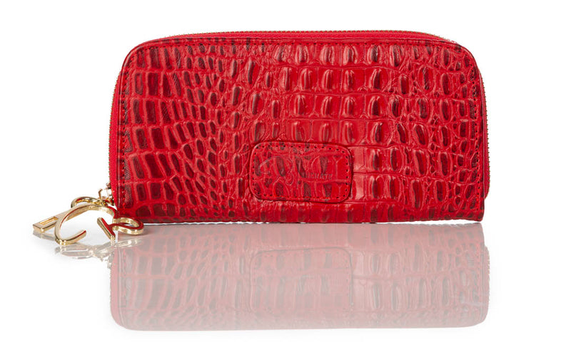 """222"" Red Alligator Leather Wallet"