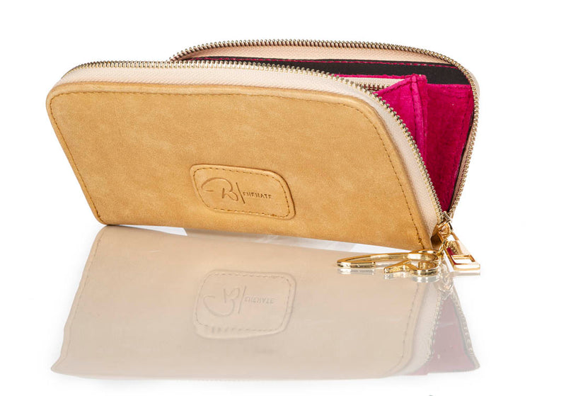 """222"" Metallic Gold Calf Leather Wallet"