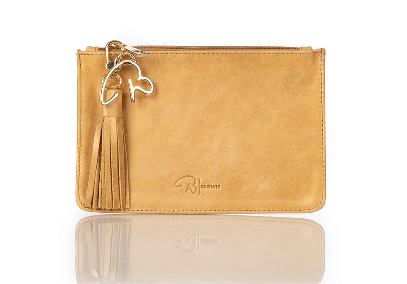 """777"" Gold Leather Pouch"