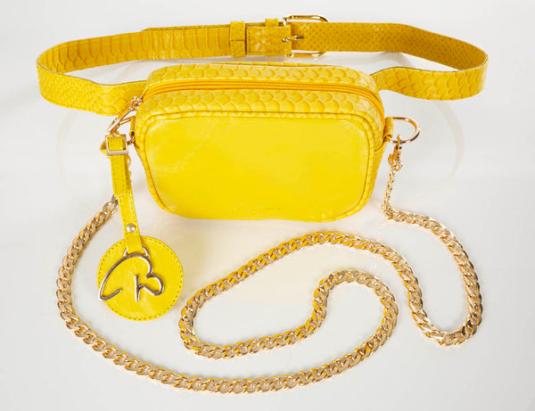 """000"" Lemon Leather Belt/Cross Body Bag"