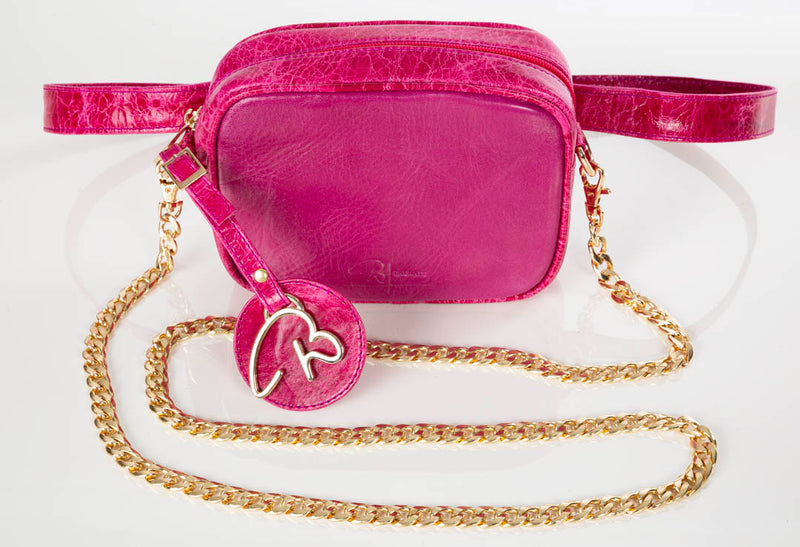 """000"" Fuchsia Leather Belt/Cross Body Bag"