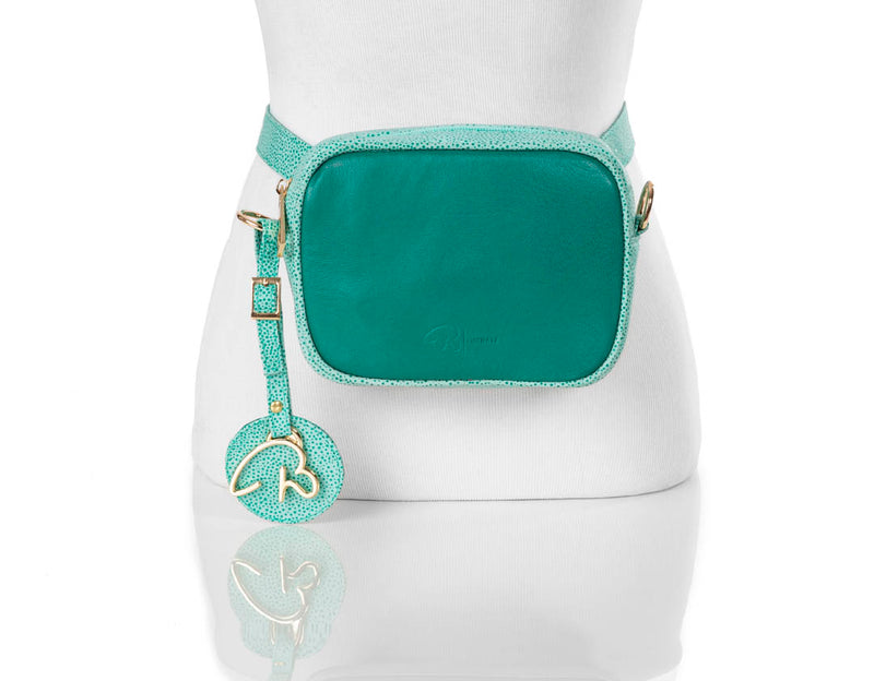 """000"" Green Leather Belt/Cross Body Bag"