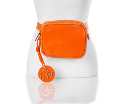 """000"" Orange Leather Belt/Cross Body Bag"