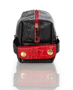 """999"" Black & Red Crocodile Leather Toiletry"