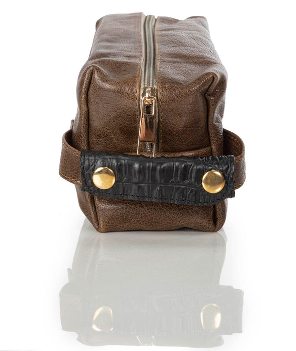 """999"" Distressed Brown Leather Toiletry Bag"