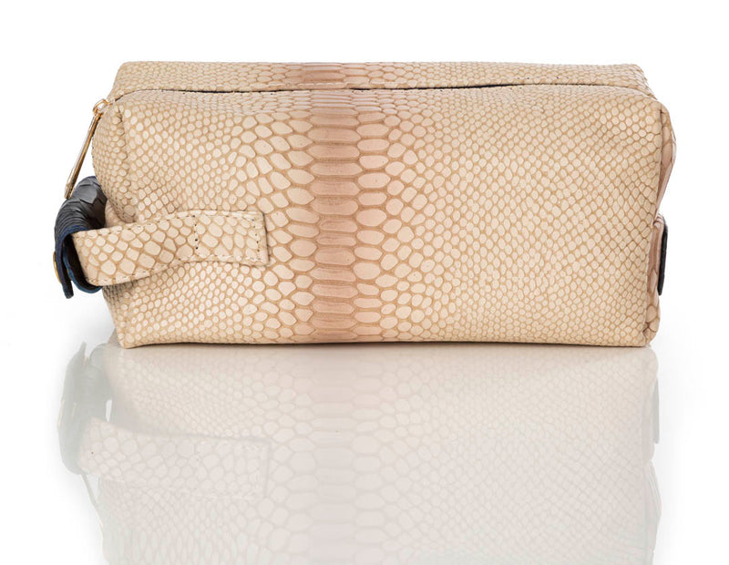 """999"" Ivory & Navy Python Leather Toiletry Bag"
