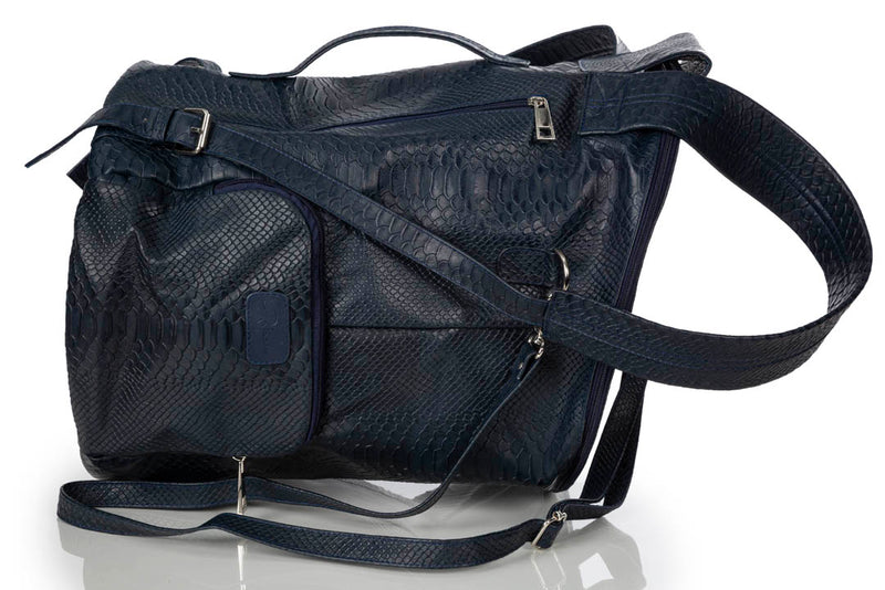 """11:11"" Navy Blue Python & Lamb Backpack"