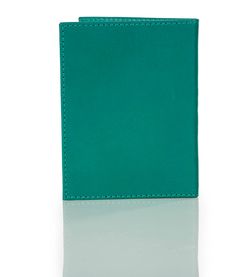 """10:10"" Teal Green Leather Passport/Wallet"