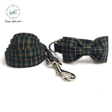 Load image into Gallery viewer, Dog Plaid Collar and Leash Set with Bow Tie