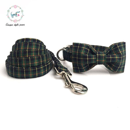 Dog Plaid Collar and Leash Set with Bow Tie