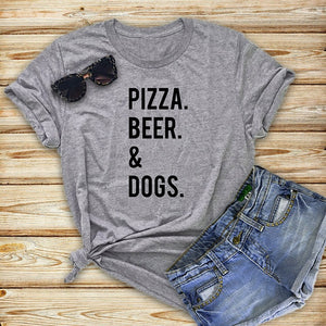T-Shirt, Pizza, Beer & Dogs