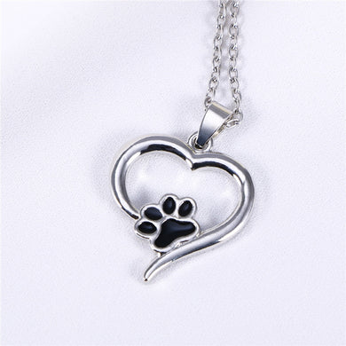 Paw Print Necklace with Heart