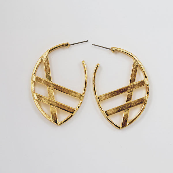 Crossroads Gold Hammered Hoops