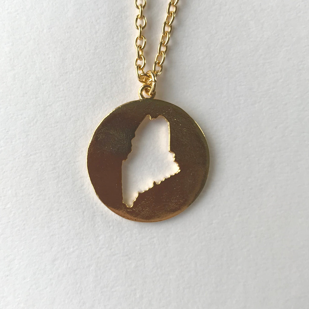 MAINE CUTOUT PENDANT gold link
