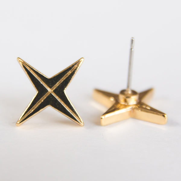 Gold 4-Point Compass Rose Stud