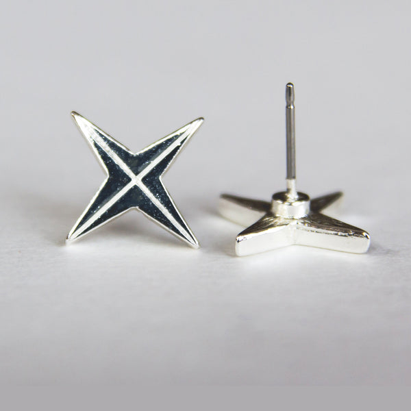 Silver 4-Point Compass Rose Stud