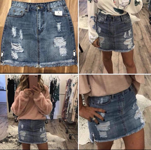 WAKEE Distressed Denim Skirt