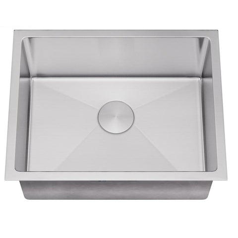 "Allora USA - ADA-KH-2718-R15 - 26"" x 17"" x 5"" Handmade Undermount Single Bowl Stainless Steel Kitchen Sink"