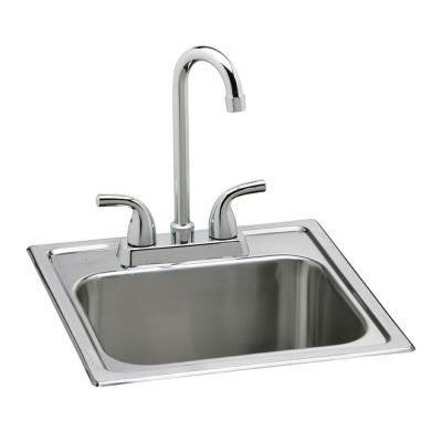 Elkay Neptune All-in-One Drop-In Stainless Steel 15 in. 2-Hole Single Bowl Bar Sink - KralSu Sink and Faucet Supplies