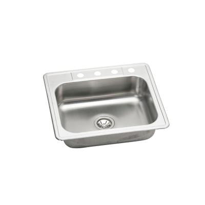 Elkay Neptune Drop-in Stainless Steel 25 in. 4-Hole Single Bowl Kitchen Sink