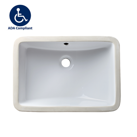 "Allora USA - ADA-1218 - 18"" x 12"" x 5"" Undermount Rectangular Bathroom Sink With Overflow - White"