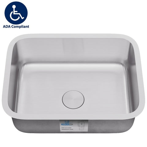 "Allora USA - ADA-2718 - 27"" x 18"" x 5 1/2"" Undermount Single Bowl 18 gauge Stainless Steel Kitchen Sink - KralSu Sink and Faucet Supplies"