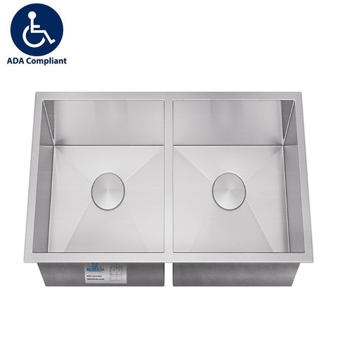 "Allora USA - ADA-KH-3118-R15 - 31"" x 17 7/8"" x 5"" Handmade Undermount Double Bowl Kitchen Sink - KralSu Sink and Faucet Supplies"
