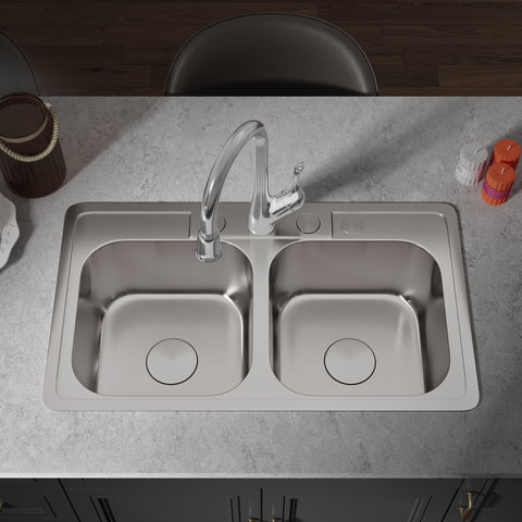 "Allora USA - TOP-2914 - 33"" x 19"" x 8"" Top Mount Double Bowl Kitchen Sink"