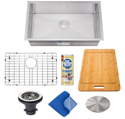 "Allora USA - KH-2318 - 23"" x 18"" x 10"" Combo Handmade Undermount Single Bowl Stainless Steel Kitchen Sink and Accessories"
