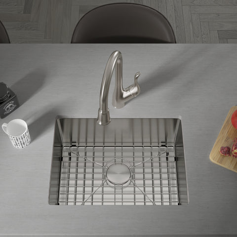 "Allora USA - KH-2718 Combo - 27"" x 18"" x 10"" Handmade Undermount Large Single Bowl Stainless Steel Kitchen Sink"