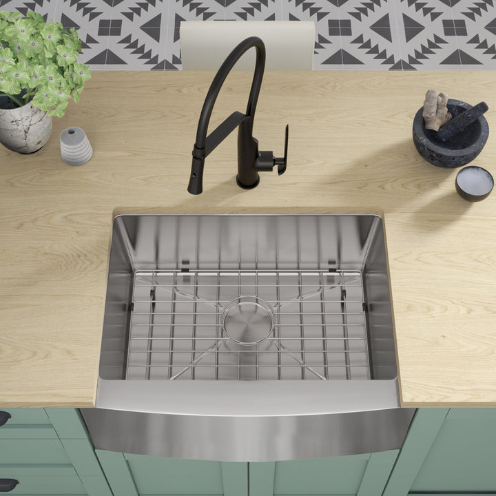 "Allora USA - KH-3021F-R15 Combo - 30"" x 21"" x 10"" Farmhouse Apron Handmade Undermount Single Bowl Stainless Steel Kitchen Sink"