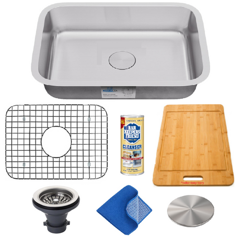 "Allora USA - KSN-2318-16 Combo - 23"" x 18"" x 9"" Undermount Single Bowl 16 Gauge Stainless Steel Kitchen Sink and Accessories"