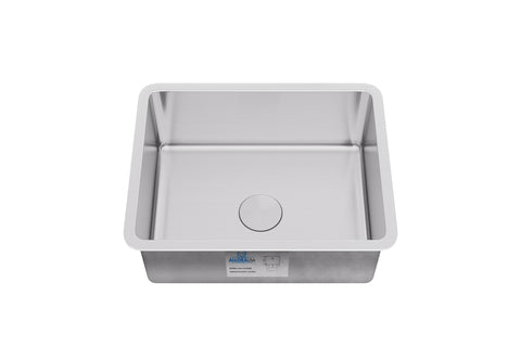 "Allora USA - KSN-1917 R25 - 19"" x 17"" x 9"" Undermount Single Bowl Stainless Steel Kitchen/Bar Sink - KralSu Sink and Faucet Supplies"