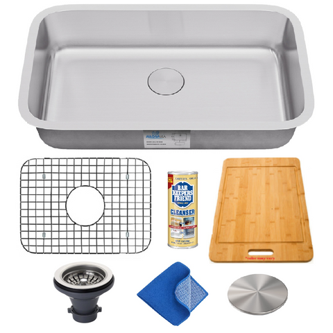 "Allora USA - KSN-2718-16 Combo - 27"" x 18"" x 9"" Undermount Single Large Bowl 16 gauge Stainless Steel Kitchen Sink and Accessories"