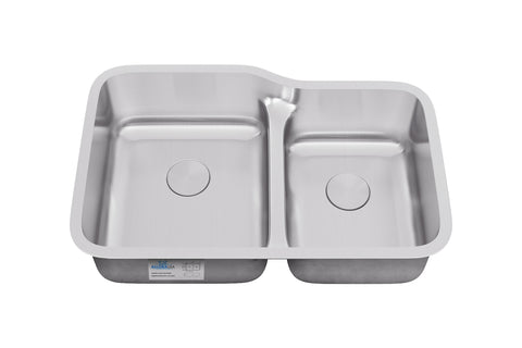 "Allora USA - LD-3221 Kitchen Sink - 32"" x 20 1/2"" x 9/8"" Undermount Low Divider Double Bowl 18 gauge Stainless Steel Kitchen Sink - KralSu Sink and Faucet Supplies"