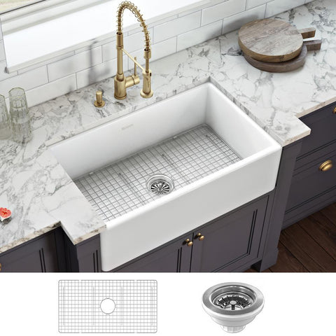 RUVATI Farmhouse Apron-Front Fireclay 33 in. x 20 in. Reversible Single Bowl Kitchen Sink in White