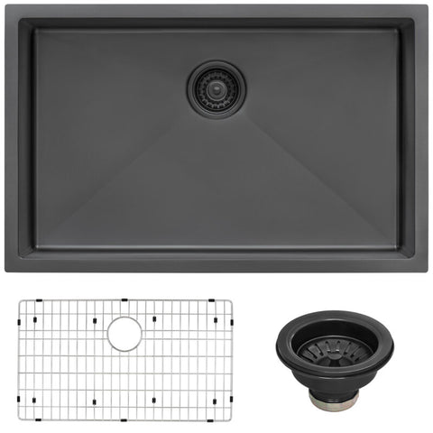 Ruvati 27-inch Undermount Gunmetal Black Stainless Steel Kitchen Sink 16 Gauge Single Bowl