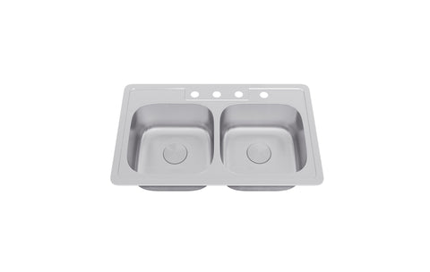 "Allora USA - TOP-2914 - 33"" x 19"" x 8"" Top Mount Double Bowl Kitchen Sink - KralSu Sink and Faucet Supplies"