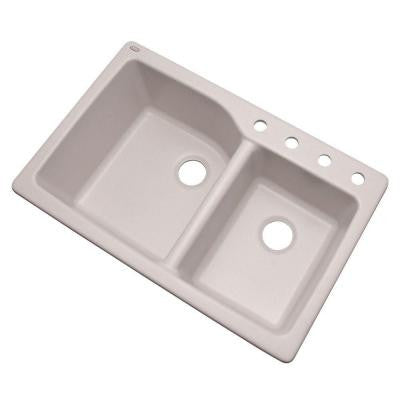 Glacier Bay Grande Dual Mount Composite Granite 34-1/2 in. 4-Hole Double Bowl Kitchen Sink in White - KralSu Sink and Faucet Supplies