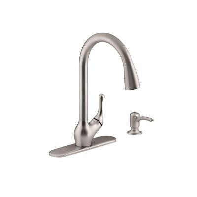Kohler Barossa Single-Handle Pull-Down Kitchen Faucet in Vibrant Stainless with Soap/Lotion Dispenser and DockNetik