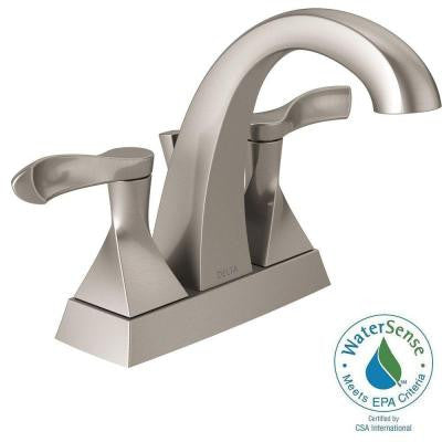 Delta Everly 4 in. Centerset 2-Handle Bathroom Faucet in SpotShield Brushed Nickel - KralSu Sink and Faucet Supplies