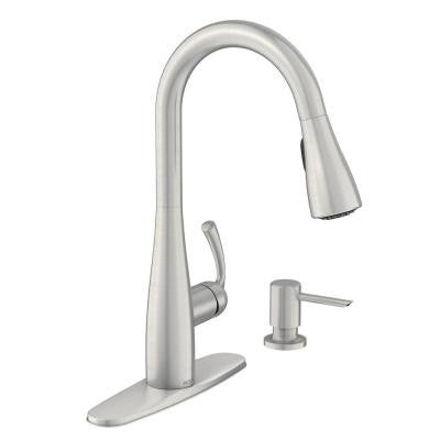 Moen Essie Single-Handle Pull-Down Sprayer Kitchen Faucet with Soap  Dispenser in Spot Resist Stainless