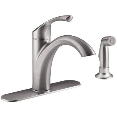 Kohler Mistos Single-Handle Standard Kitchen Faucet with Side Sprayer in Stainless Steel