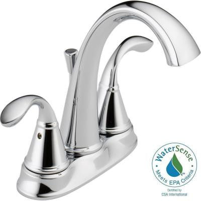 Delta Zella 4 in. Centerset 2-Handle Bathroom Faucet in Chrome