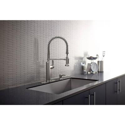 Kohler Sous Pro Style Single Handle Pull Down Sprayer Kitchen Faucet In Vibrant Stainless Kralsu Sink And Faucet Supplies