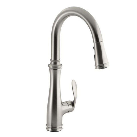 Faucets - KOHLER Kitchen Bellera 1 Or 3-Hole Single-Handle Pull-Down Sprayer Kitchen Faucet In Vibrant Stainless With DockNetik And Sweep Spray K-560-VS