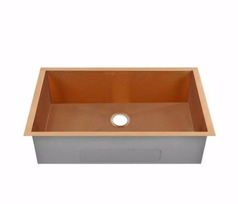 "Allora USA - KH-2718-R15-RG - 27"" x 18"" x 10"" Rose Gold Handmade Undermount Single Large Bowl Stainless Steel Kitchen Sink"