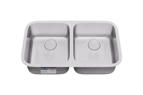 "Allora USA - KSN-3318 - 33"" x 18"" x 9"" Undermount 50/50 Double Bowl Stainless Steel Kitchen Sink"