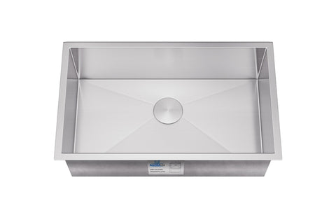 "Allora USA - KH-2718 - 27"" x 18"" x 10"" Handmade Undermount Single Large Bowl Stainless Steel Kitchen Sink - KralSu Sink and Faucet Supplies"